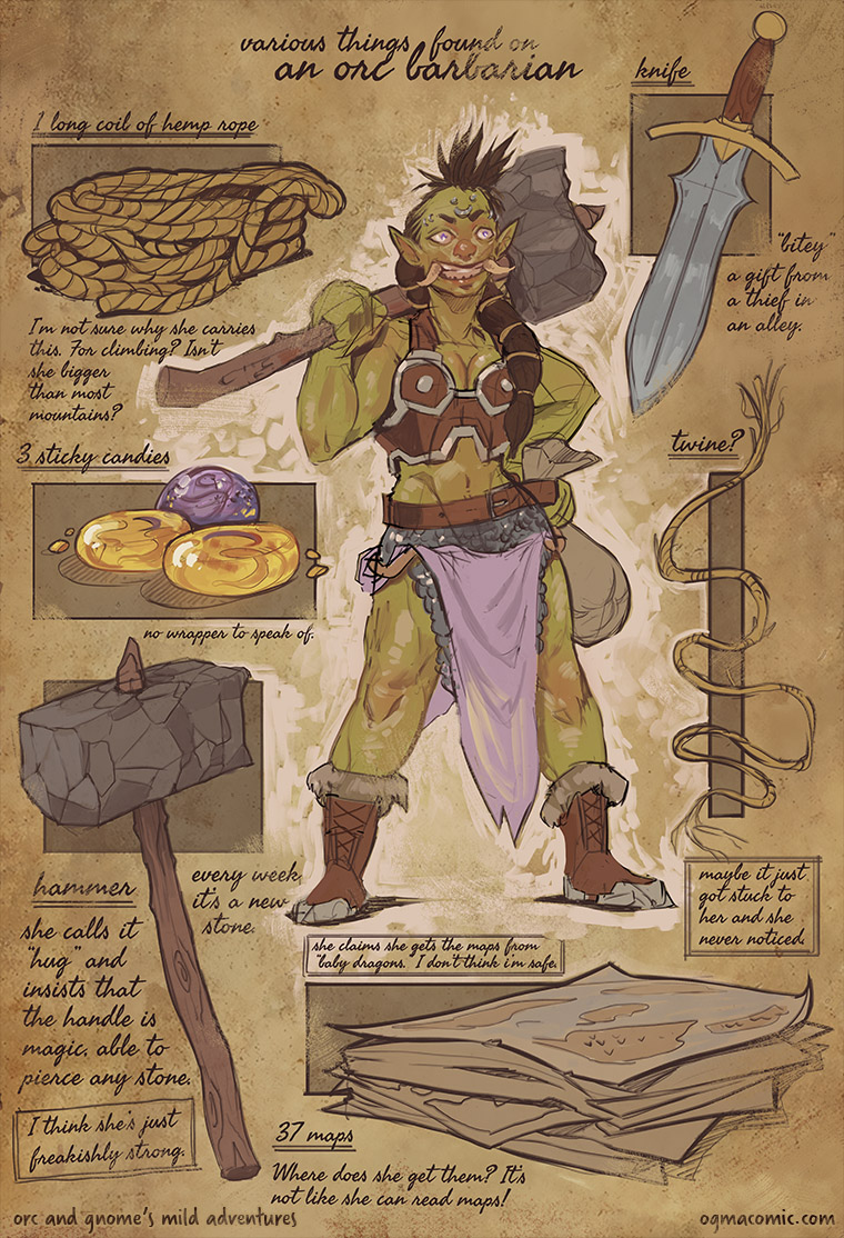 Various Things Found on an Orc Barbarian